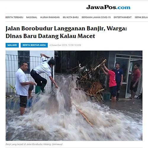 banjir di Jalan Borobudur, malang