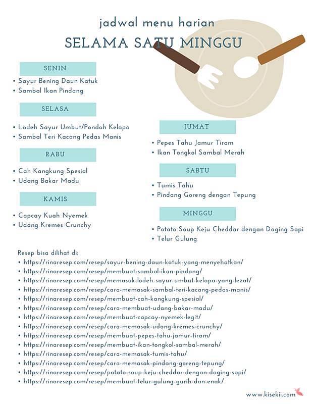 jadwal menu harian